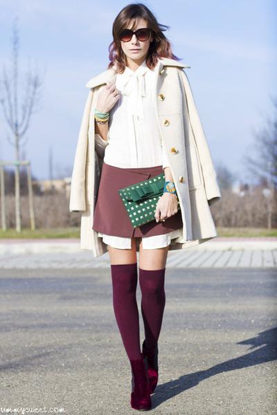 ivory vintage coat - magenta Bertie boots - magenta Aniye By dress