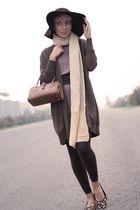 brown Zara hat - brown Taviani cardigan - brown vintage bag - brown Il Laccio sh