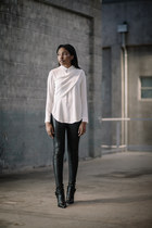 Leith shirt - thakoon boots - Helmut Lang leggings