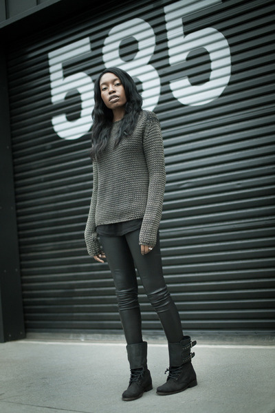 t by alexander wang sweater - All Saints boots - LA Made shirt