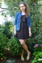 black self-made dress - blue madewell shirt - dark brown Valentino sunglasses