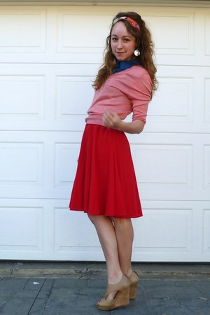 red vintage skirt - coral JCrew sweater - salmon striped vintage scarf