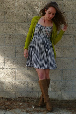 navy chevron Target dress - brown Anthropologie boots - navy Target jacket