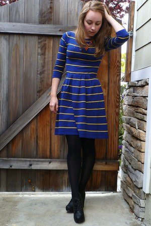 navy striped asos dress - black tights - carrot orange vintage necklace