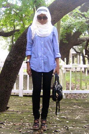blue Gap shirt - black Forever 21 jeans - black Nine West shoes - black Marc by