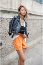 Black-vintage-jacket-forest-green-alexander-wang-purse-orange-trouser-silk-t