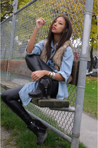 beige faux fur H&M vest - black zoe sam edelman boots - blue denim Zara shirt