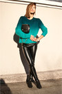 Black-vintage-boots-turquoise-blue-h-m-sweater-black-urban-outfitters-pants