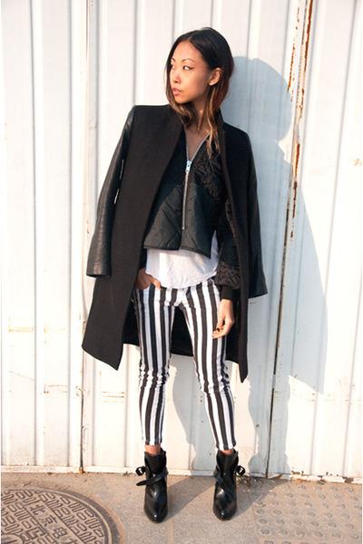 black Zara jacket - black THP jacket - black Zara boots