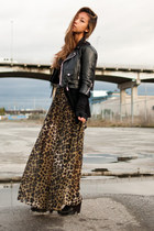 tan H&M dress - black Ebay jacket - black sam edelman boots