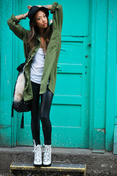 black Kova & T leggings - white Emma Cook shoes - black straw fedora Talula hat