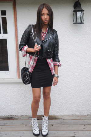 vintage jacket - TNA shirt - supre dress - Topshop boots - Alexander Wang purse