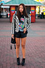 White-vintage-jacket-black-vintage-t-shirt-black-forever-21-shorts-black-s