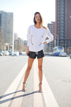 baroque Zara sweatshirt - MSBHV shorts - Alexander Wang heels