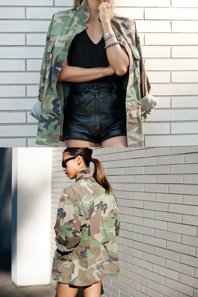 dark khaki vintage jacket - black vintage shorts - black Ray Ban sunglasses