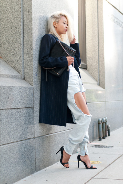 navy Mango coat - light blue THPSHOP jeans - black Marciano bag
