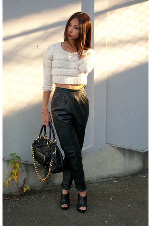 pink H&amp;M sweater - black vintage pants - black Steve Madden shoes - black Marc J