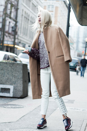 tan JNBY coat - maroon Alexander Wang sweater - white H&M pants
