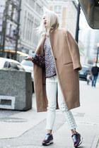 tan JNBY coat - maroon Alexander Wang sweater - white H&M pants