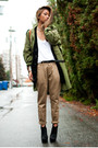 Tan-yes-style-pants-black-bcbg-boots-olive-green-vintage-military-jacket-w