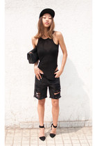 black romwe top - black Alexander Wang shoes - black Yesstyle shorts