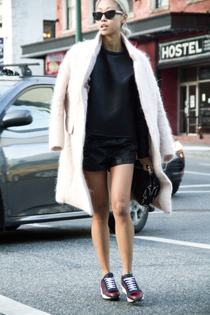 light pink H&M coat - black Alexander Wang purse - black THPSHOP shorts