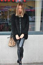 black BCBG boots - black faux fur zipper Yes Style jacket - tan Alexander Wang p