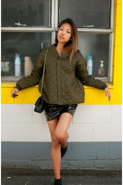 army green vintage jacket - black ankle boots vintage boots - black Chanel purse