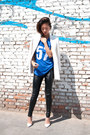White-zara-blazer-blue-jersey-sport-romwe-t-shirt
