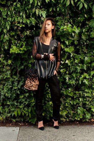 black Alexander Wang purse - black Alexander Wang shoes - black Yesstyle jacket