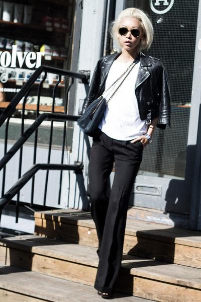black vintage jacket - black nylon vintage Prada purse - white everlane t-shirt