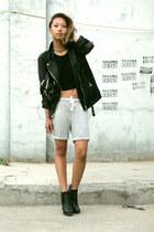sam edelman boots - Yesstyle jacket - Alexander Wang bag - Aritzia shorts
