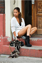 black BCBG boots - white The Scarlet Room blouse - brown The Scarlet Room shorts