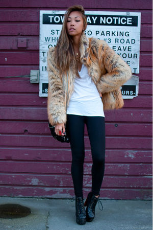 black Jeffrey Campbell boots - beige faux fur H&amp;M jacket - black TNA leggings