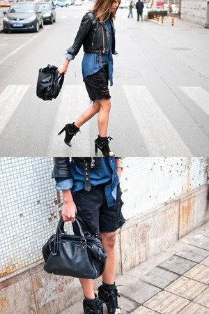 navy Wrangler shirt - black Alexander Wang shoes - black leather tote Zara purse