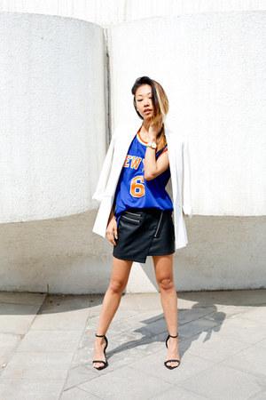 Style Stalker skirt - boyfriend Zara blazer - NBA shirt