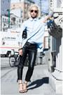 Light-blue-front-row-shop-shirt-black-rachael-ruddick-bag