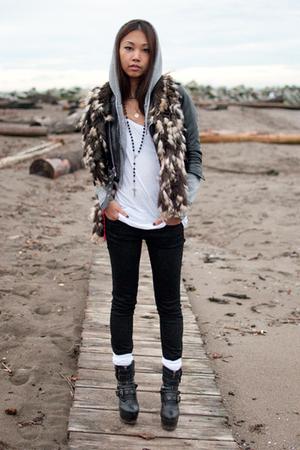 brown fur vintage scarf - black platform Din Sko boots