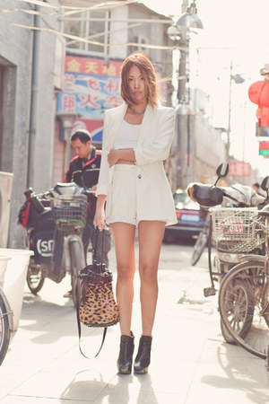 white Zara blazer - tan Alexander Wang purse - white vintage shorts - white spor