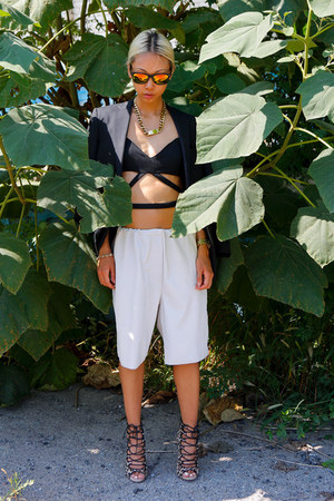 Uniqlo blazer - 31 Phillip Lim shorts - wrap bra THPSHOP bra