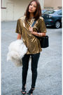 Gold-vintage-top-black-silence-noise-pants-black-zara-shoes-white-vintage