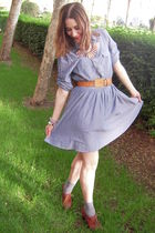 blue H&M dress - brown vintage levis belt - brown shoes - beige Accesorize neckl