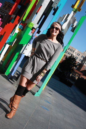 bronze Steve Madden boots - heather gray James Pearse dress - peach American App