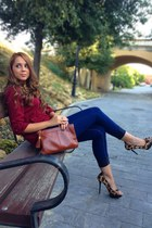 Stradivarius blouse - pull&bear jeans - Zara heels