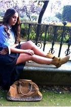 biker botas Z ara boots - tote bag BLA NCO bag - asymmetric Zara skirt