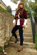 Zara blouse - pull&bear jeans - Mango bag - Loeds belt - October cardigan