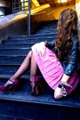 Purple-z-ara-heels-heather-gray-bl-anco-jacket-bubble-gum-h-m-skirt