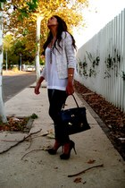 crochet vintage jacket - leather effect H&M leggings - vintage bag