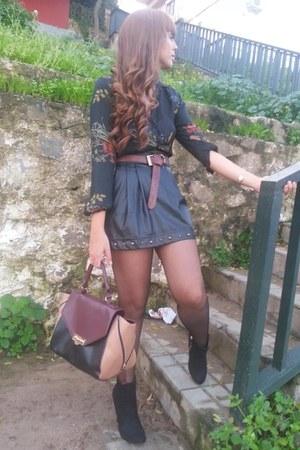 Zara boots - Stradivarius skirt - Zara blouse