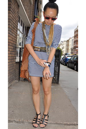 blue American Apparel dress - black Topshop shoes - gold Fenton necklace - brown